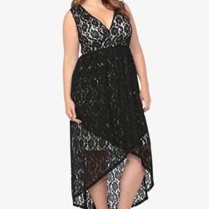 torrid Dresses - TORRID Black Lace High Low sexy Plunge Dress goth